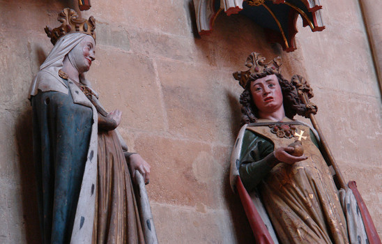 Fig. 16: Otto I – Statues of Otto I, right, and Adelaide in Meissen Cathedral. Otto and Adelaide were married after his annexation of Italy. Credit: Kolossos, Wikimedia Commons