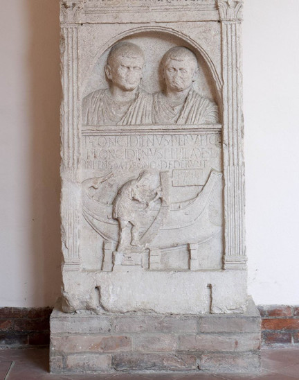 Fig. 2: Funerary stele of Publius Longidienus at the National Museum of Ravenna. Credit: P. Bernabini, courtesy of SBAP-RA (MIBAC-Italy)