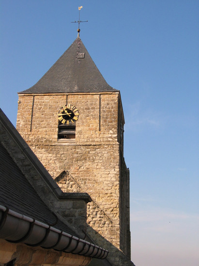 Fig. 34: Late medieval bell tower of the Saint Martin's church with later alterations in the upper part. Credit: The Provinciaal Archeologisch Museum Velzeke