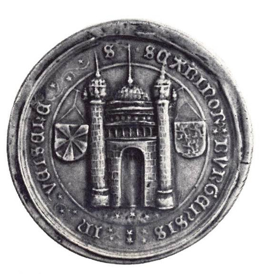 Fig. 36: Seal of the main court of the aldermen's benches with the name of Velzeke. Credit: The Provinciaal Archeologisch Museum Velzeke