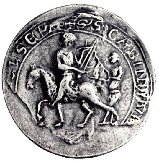 Fig. 37: Seal of the main court of the aldermen's benches with the representation of Saint Martin. Credit: The Provinciaal Archeologisch Museum Velzeke